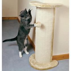 """Trixie Когтеточка-тумба д/кошек """"Lorca"""" с игрушкой угловая, бежевая, сизаль/плюш 75*37*27 см, арт. 4350"""