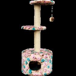 Зооник домик-когтеточка с двумя площадками круглый
