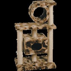 Зооник домик-когтеточка 2 площадки+труба