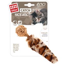 GiGwi Плетенный мячик с колокольчиком и хвостом с кошачьей мятой, игрушка для кошек 13 см арт.75439