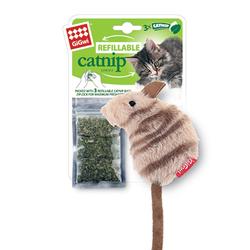 GiGwi Мышка 10 см с кошачьей мятой + 3 пакетика мяты, арт.75382