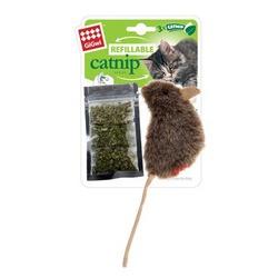 GiGwi Мышка 10 см с кошачьей мятой + 3 пакетика мяты, арт.75300