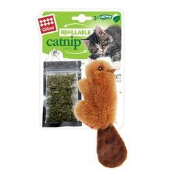 GiGwi Бобер 16 см с кошачьей мятой + 3 пакетика, арт.75301