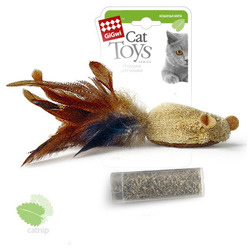 GiGwi Мышь с карманом на липучке кошачья мята 7 см арт.75269