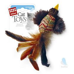 GiGwi Птичка с перьями НАТУРАЛЬНОЕ ПЕРО 10 см арт.75264