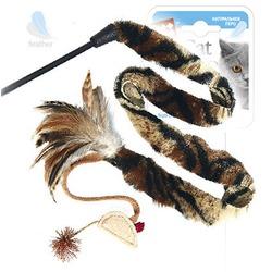 GiGwi Дразнилка с длинным хвостом и перьями