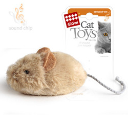 GiGwi Мышка со звуковым чипом Издает звуки при касании 13 см арт.75217