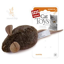GiGwi Мышка со звуковым чипом Издает звуки при касании 15 см арт.75101