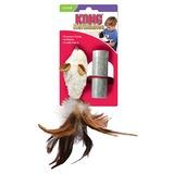 """Kong """"Мышка-полевка с перьями"""" игрушка для кошек с кошачьей мятой+баночка с мятой"""