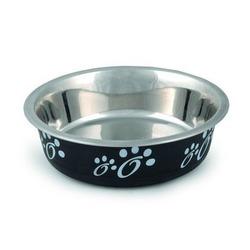 IPTS Миска для кошек стальная с лапками черная 12см