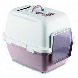 Stefanplast Туалет-домик Cathy Comfort с угольным фильтром и совочком, пудровый, 58х45х48 см