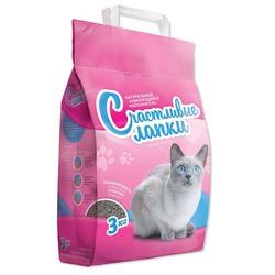 Счастливые лапки комкующийся наполнитель для кошачьего туалета, кипрская бентонитовая глина