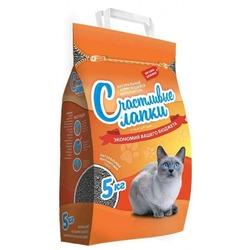 """Счастливые лапки """"Эконом"""" комкующийся наполнитель для кошачьего туалета, бентонитовая глина, упаковка 5 кг"""