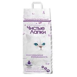 Чистые лапки комкующийся наполнитель с ароматом детской присыпки для кошачьего туалета, индийская глина, упаковка 5 кг