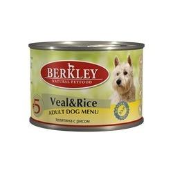 Berkley №5 телятина с рисом, консервы для взрослых собак, 200 гр.