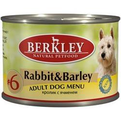 Berkley №6 кролик с ячменем, консервы для взрослых собак, 200 гр.