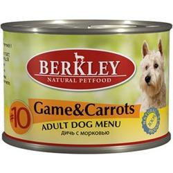 Berkley №10 дичь с морковью, консервы для взрослых собак, 200 гр.
