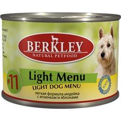 Berkley №11 индейка с ягненком и яблоками, консервы для взрослых собак, 200 гр.