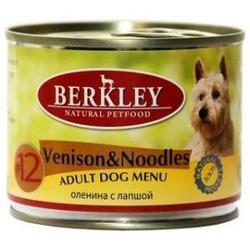 Berkley №12 оленина с лапшой, консервы для взрослых собак, 200 гр.