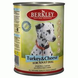 Berkley индейка с сыром, консервы для взрослых собак, 400 гр.