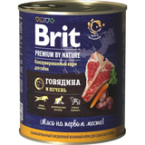 Brit Консервы с говядиной и печенью для взрослых собак всех пород , 850 гр.
