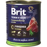 Brit Premium by Nature Консервы с говядиной и сердцем для взрослых собак всех пород, 850 гр.
