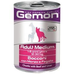 Gemon Dog Medium консервы для собак средних пород кусочки говядины с печенью 415 гр.