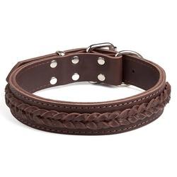 """Gripalle ошейник для собак """"Берт"""", натуральная кожа, 2 слоя, цвет коричневый"""