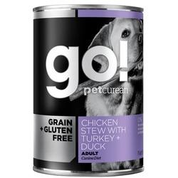 GO! NATURAL Holistic консервы беззерновые с тушеной курицей, индейкой и мясом утки для собак, Grain Free Chicken Stew with Turkey + Duck , 400 гр.