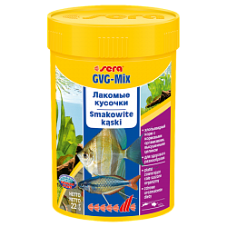 Sera GVG-Mix Хлопья с лакомыми кусочками для пресноводных рыб содержат большое количество гаммаруса и водорослей спирулина