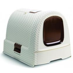 Curver PetLife Туалет-домик для кошек, с фильтром и дверкой, цвет бежевый