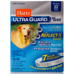 Hartz ошейник от блох и клещей для собак и щенков, белый со светоотр. полосой, 55 см, защита на 7 месяцев, UltraGuard Plus® Flea & Tick Collar with Reflect-X Shield