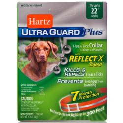 Hartz ошейник от блох и клещей для собак и щенков, оранжевый со светоотр. полосой, 55 см, защита на 7 месяцев, UltraGuard Plus Flea & Tick Collar with Reflect-X Shield