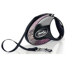 Flexi Glam Composition M ременной поводок-рулетка 5м для собак до 25 кг, цвет черный, с кристаллами Swarovski®