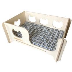 HOMEPET Кроватка для кошек и собак, универсальная деревянная с матрасом, размер 60х40х27 см