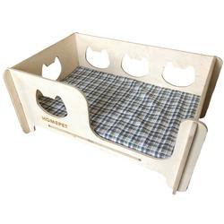 HOMEPET Кроватка для кошек и собак, универсальная деревянная с матрасом, размер 75х56х27 см