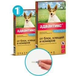 Bayer Advantix капли от блох и клещей, для собак от 4 кг до 10 кг