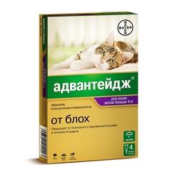 Bayer Адвантейдж 4 пипетки в упаковке, Капли на холку от блох для кошек более 4кг