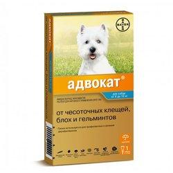 Bayer Advocate Адвокат® капли на холку для собак от чесоточных клещей, блох и гельминтов, для собак от 4 до 10 кг, 3 пипетки в уп.