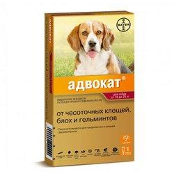 Bayer Advocate Адвокат® капли на холку для собак от чесоточных клещей, блох и гельминтов, для собак от 10 до 25 кг, 3 пипетки в уп.