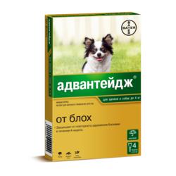 Bayer Адвантейдж капли на холку от блох для щенков и собак до 4 кг, 4 пипетки в уп.