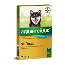 Bayer Адвантейдж капли на холку от блох для щенков и собак от 4 до 10 кг, 4 пипетки в уп.