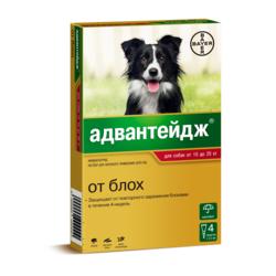 Bayer Адвантейдж капли на холку от блох для щенков и собак от 10 до 25 кг, 4 пипетки в уп.