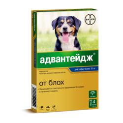 Bayer Адвантейдж капли на холку от блох для щенков и собак более 25 кг, 4 пипетки в уп.