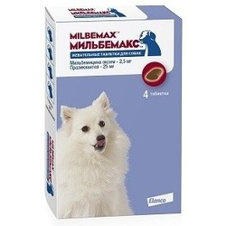 Elanco Мильбемакс антигельминтик для собак, жевательные таблетки, 4 таб. (1 таб/1-5кг)