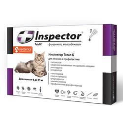 Inspector капли для кошек от 8 до 15 кг, от внешних и внутренних паразитов, 1 пипетка