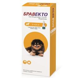 Intervet Бравекто Spot On капли от блох и клещей для собак 2-4,5 кг, 112,5мг