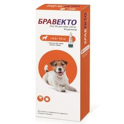 Intervet Бравекто Spot On капли от блох и клещей для собак 4,5-10 кг, 250мг