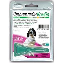 Merial Фронтлайн Комбо Frontline Combo капли от блох и клещей для собак 20-40 кг L пипетка 2,68 мл