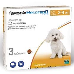 Merial Фронтлайн НексгарД таблетки от блох и клещей для собак 2-4 кг 11,3 мг, 3 шт. в упаковке